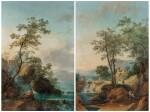 A Landscape with an architectural capriccio of Tivoli; A Landscape with falls and a bridge