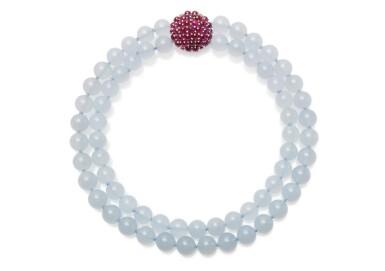Blue chalcedony, ruby and diamond necklace, Michele della Valle