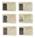 [THE CHICAGO SEVEN]    Cook County Jail identification cards depicting six members of the Chicago Seven, anti-war activists charged in connection to anti-war protests at the 1968 Democratic National Convention