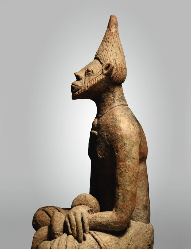 View 3. Thumbnail of Lot 10. MIDDLE NIGER CIVILZATION SEATED MALE FIGURE, MALI, 12TH - 14TH CENTURY.