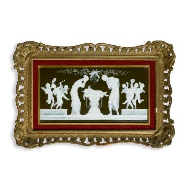 A MINTONS PATE-SUR-PATE RECTANGULAR PLAQUE, 'L'AMOUR EST MORT/VIVE L'AMOUR' CIRCA 1880