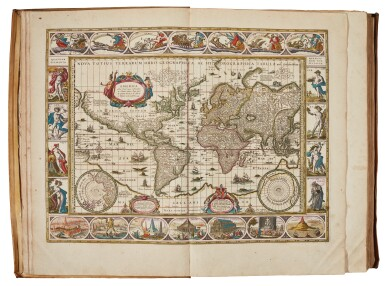 View 1. Thumbnail of Lot 53. BLAEU | Theatrum Orbis Terrarum. Amsterdam, 1640-1654, 5 volumes, folio, contemporary Dutch vellum gilt.