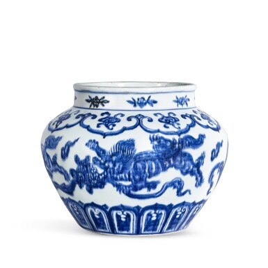 View 1. Thumbnail of Lot 3635. An exceptional blue and white 'lion and ball' jar Mark and period of Xuande | 明宣德 青花獅子戲球罐 《大明宣德年製》款.