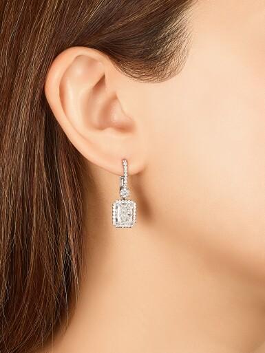 View 3. Thumbnail of Lot 1652. Pair of Diamond Pendent Earrings   3.02及3.02克拉 方形 D色 鑽石 耳墜一對.