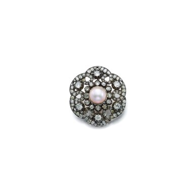 View 1. Thumbnail of Lot 1673. DIAMOND AND PEARL BROOCH   鑽石 配 珍珠 別針   .