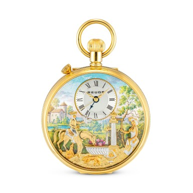 View 1. Thumbnail of Lot 868. CHARLES REUGE   THE FOUNTAIN A GOLD PLATED OPENFACE WATCH WITH MUSICAL AUTOMATON AND ALARM, CIRCA 2010.