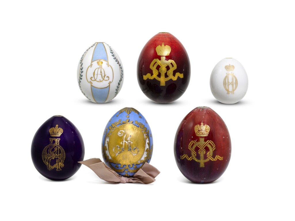 SIX PORCELAIN EASTER EGGS, IMPERIAL PORCELAIN FACTORY, ST PETERSBURG, 19TH/EARLY 20TH CENTURY
