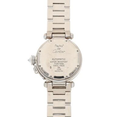 View 4. Thumbnail of Lot 472. Pasha, Ref. 2308 White gold and diamond-set wristwatch with date and bracelet Circa 2000   卡地亞 2308型號「Pasha」白金鑲鑽石鍊帶腕錶備日期顯示,年份約2000.