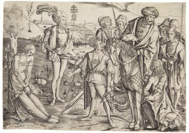 View 1. Thumbnail of Lot 39. The King's Three Sons Shooting at their Father's Corpse; and The Woman with an Owl (Bartsch 4, 21).