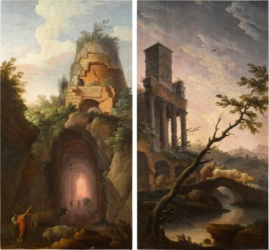 View 1. Thumbnail of Lot 39. GREGORIO FIDANZA     A VIEW OF VIRGIL'S TOMB NEAR POSILLIPO; AND AN IDEALISED VIEW OF TIVOLI INCLUDING THE BELL TOWER OF THE CHURCH OF SAN CRISOGONO IN ROME.