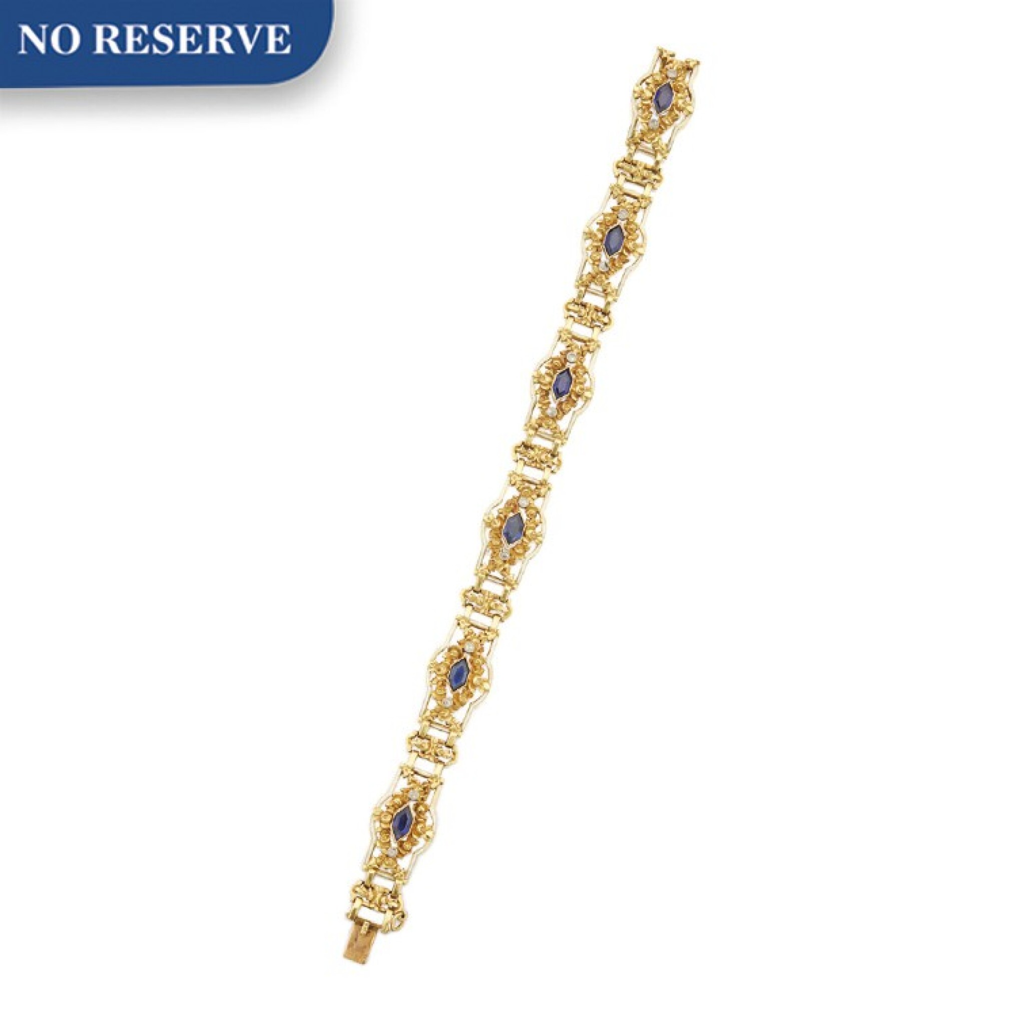 View full screen - View 1 of Lot 51. GOLD, SAPPHIRE, DIAMOND AND ENAMEL BRACELET.
