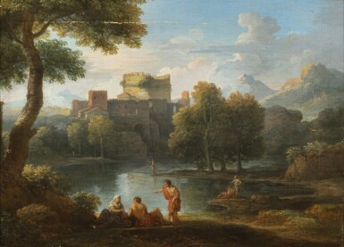 View 2. Thumbnail of Lot 161. A classical landscape with the Tomb of Cecilia Metella and figures conversing;  A classical landscape with a capriccio of the Vatican Belvedere and figures conversing in the foreground.