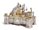 An Impressive parcel-gilt silver figural inkwell, Ivan Khlebnikov, Moscow, 1875