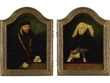 BARTHOLOMÄUS BRUYN THE YOUNGER |  A DIPTYCH: PORTRAIT OF A GENTLEMAN, AGED 44, BEHIND A WOODEN LEDGE, WEARING A FUR-TRIMMED BLACK COAT, HOLDING HIS GLOVES AND A LETTER; AND PORTRAIT OF A WOMAN, AGED 42, BEHIND A WOODEN LEDGE, IN FUR-TRIMMED BLACK DRESS WITH PEARL-STUDDED BELT, HOLDING A BOOK