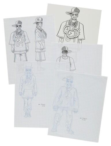 View 3. Thumbnail of Lot 41. ED PISKOR | Original artwork & designs for Public Enemy action figures, w/ original set of action figures.