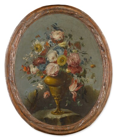 View 5. Thumbnail of Lot 648. A pair of still lifes of roses, anemones, and other flowers in bronze urns, resting on stone ledges.