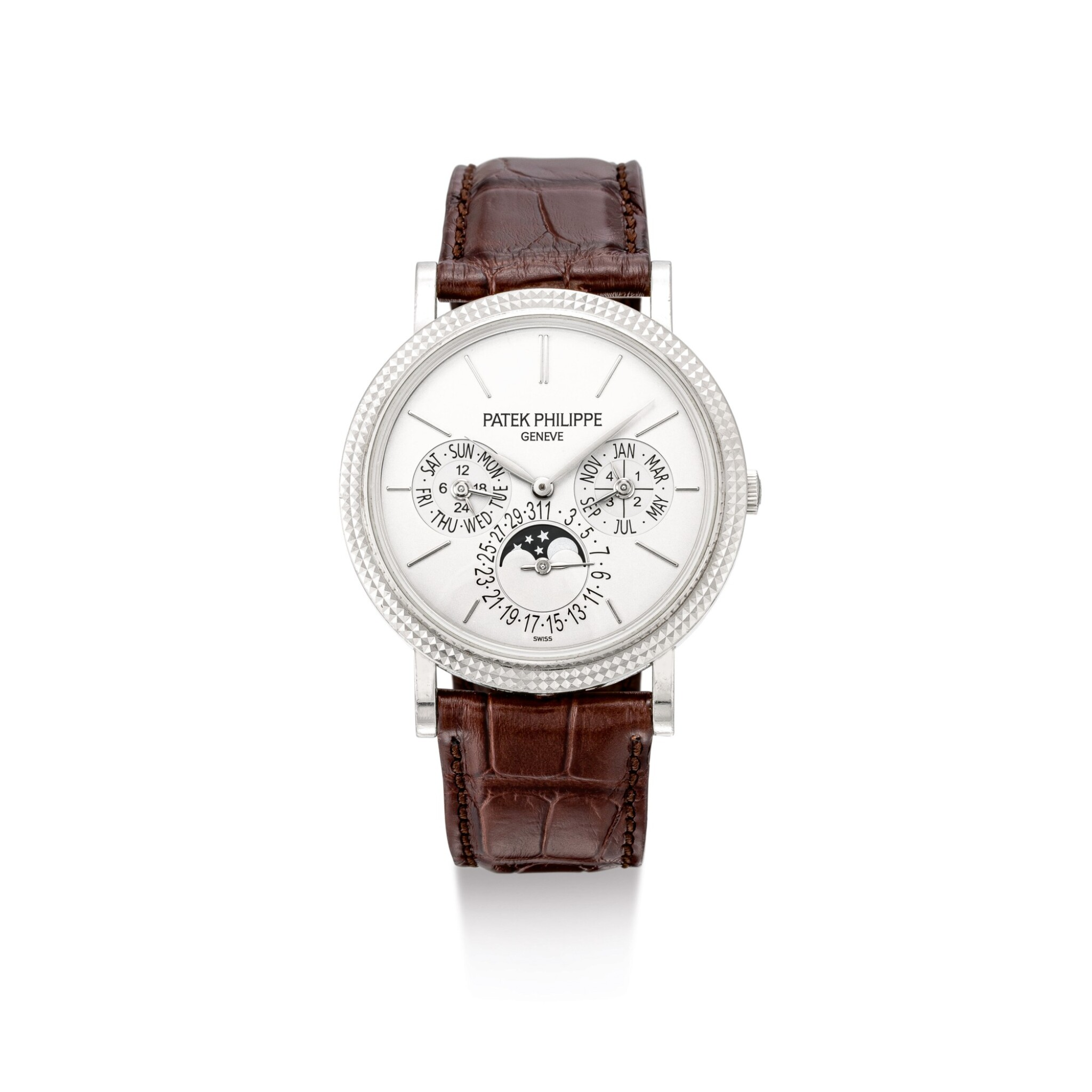 """View full screen - View 1 of Lot 2043. PATEK PHILIPPE   REFERENCE 5139, A WHITE GOLD PERPETUAL CALENDAR WRISTWATCH WITH MOON PHASES, 24 HOURS AND LEAP YEAR INDICATION, MADE IN 2010   百達翡麗   """"型號5139 白金萬年曆腕錶,備月相、24小時及閏年顯示,機芯編號5513864,錶殼編號4727337,2010年製""""."""