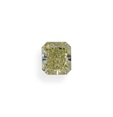 A 2.09 Carat Fancy Yellow Cut-Cornered Rectangular Modified Brilliant-Cut Diamond, SI1 Clarity