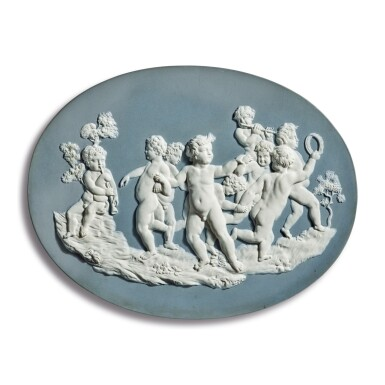 A WEDGWOOD AND BENTLEY BLUE AND WHITE JASPERWARE OVAL PLAQUE OF CUPIDS AT PLAY CIRCA 1775-80