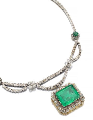 View 2. Thumbnail of Lot 163. EMERALD AND DIAMOND NECKLACE.