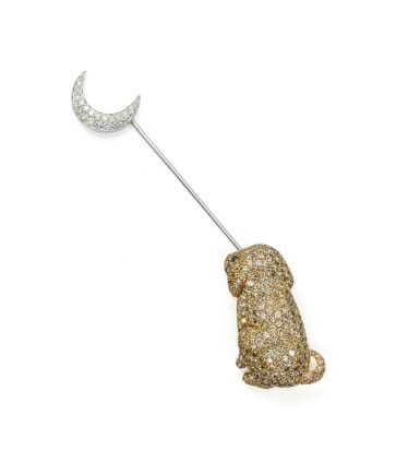View 1. Thumbnail of Lot 88. Diamond brooch, 'Dog at the moon', Michele della Valle.