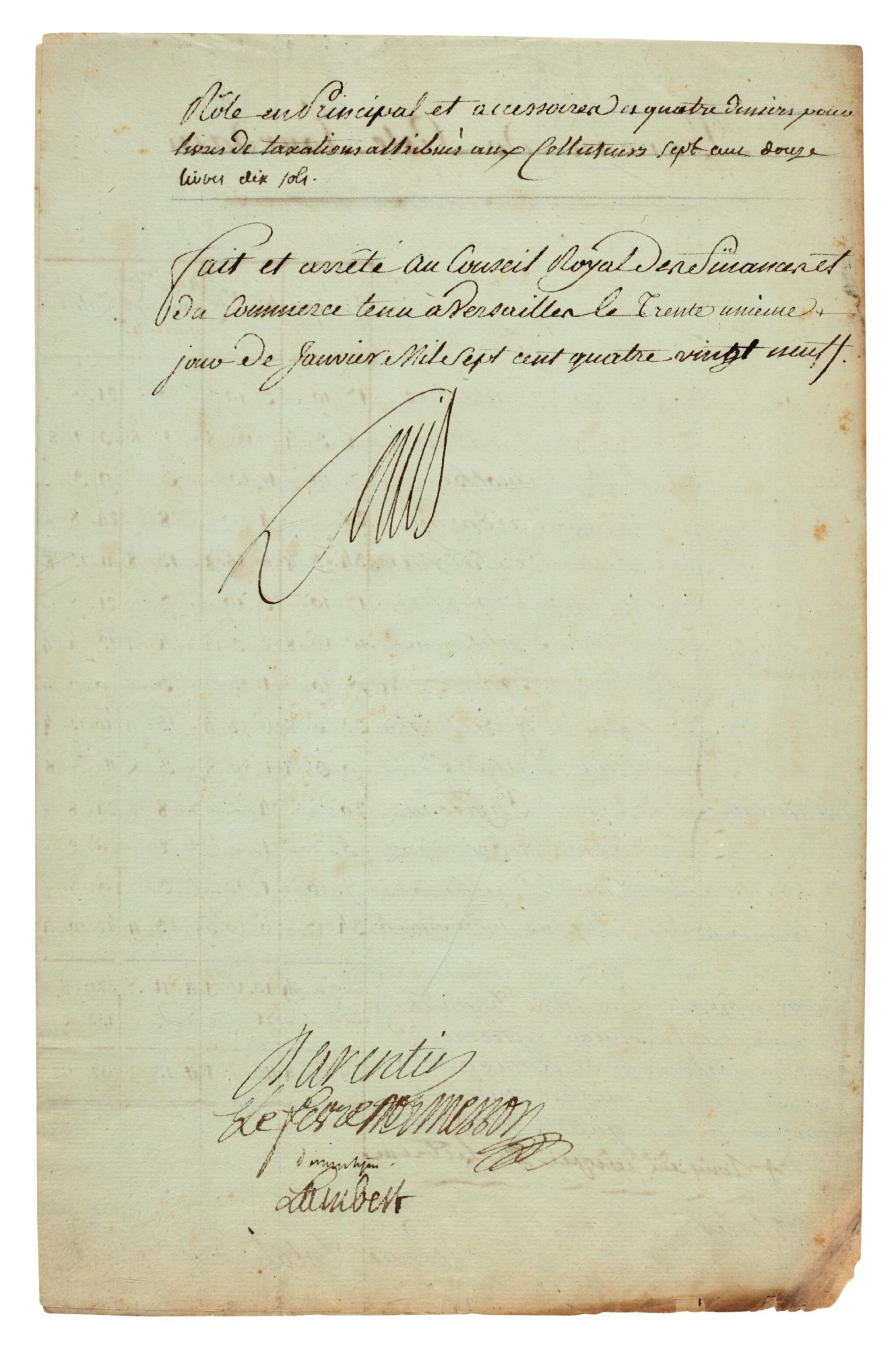 """View full screen - View 1 of Lot 71. LOUIS XVI   document signed (""""Louis""""), listing the tax liabilites of nobles in Auch, 1789."""