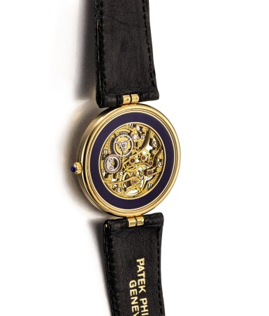 View 3. Thumbnail of Lot 2101. PATEK PHILIPPE | REFERENCE 3885, A YELLOW GOLD AND ENAMEL SKELETONIZED WRISTWATCH, CIRCA 1991 |  百達翡麗 |  型號3885   黃金鑲琺瑯鏤空腕錶,機芯編號1389273,錶殼編號2300762,約1991年製.