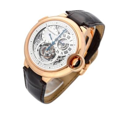View 2. Thumbnail of Lot 13. Ballon Bleu, Ref. 3326 Limited edition pink gold tourbillon wristwatch with dual time indication Circa 2009.