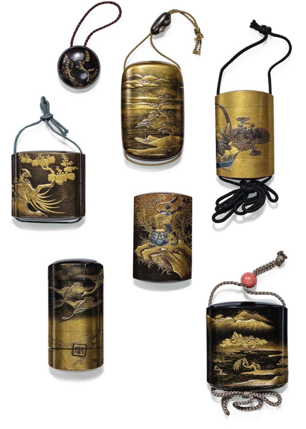 ENSEMBLE DE SIX INRO JAPON, XVIIIE-XIXE SIÈCLE | Six lacquer inro, Japan, 18th/19th century
