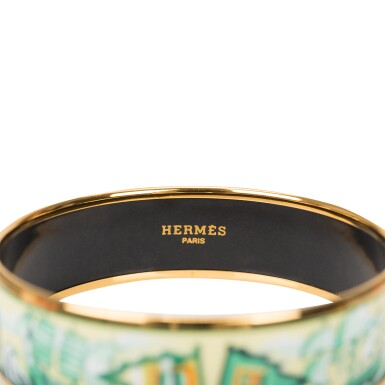 """View 4. Thumbnail of Lot 98. Hermès Vintage """"Sailing Ships"""" Enamel Jewelry Set of Wide Printed Enamel Bracelet PM (65) and Clip On Enamel Earrings With Gold Plated Hardware."""