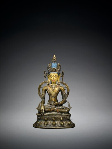 View 1. Thumbnail of Lot 327. A Copper Alloy Figure of Akshobya with Copper Inlay, Tibet, 13th/14th Century.