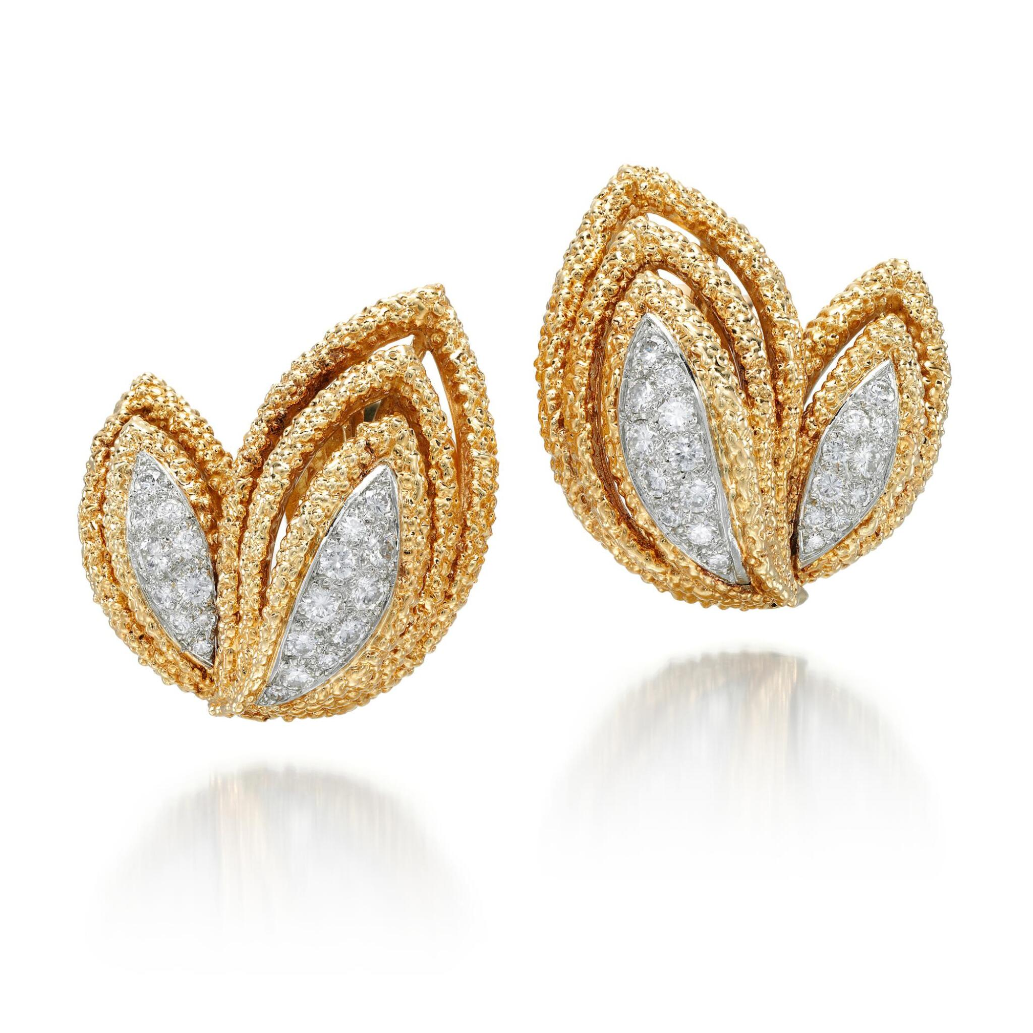 View full screen - View 1 of Lot 8.  PAIR OF GOLD AND DIAMOND EAR CLIPS | VAN CLEEF & ARPELS, 1970S.