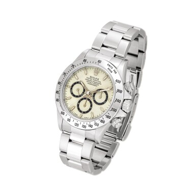 View 2. Thumbnail of Lot 2152. Rolex | Cosmograph Daytona, Reference 16520, A highly unusual stainless steel chronograph wristwatch with highly unusual dial and bracelet, Circa 1995 | 勞力士 | Cosmograph Daytona 型號16520  非常罕有精鋼計時鏈帶腕錶,備罕有錶盤,約1995年製.
