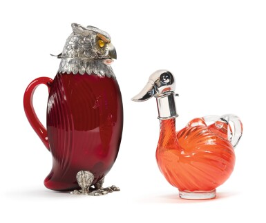 View 2. Thumbnail of Lot 273. TWO SILVER-MOUNTED GLASS BIRD-FORM CLARET JUGS, 20TH CENTURY.