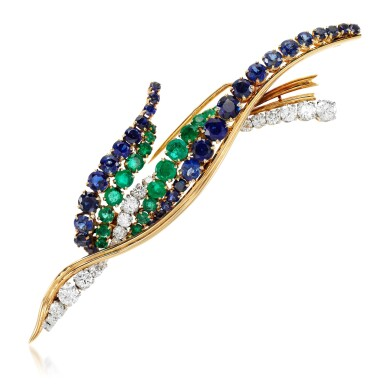View 1. Thumbnail of Lot 46. Sapphire, emerald and diamond brooch, 1960s.