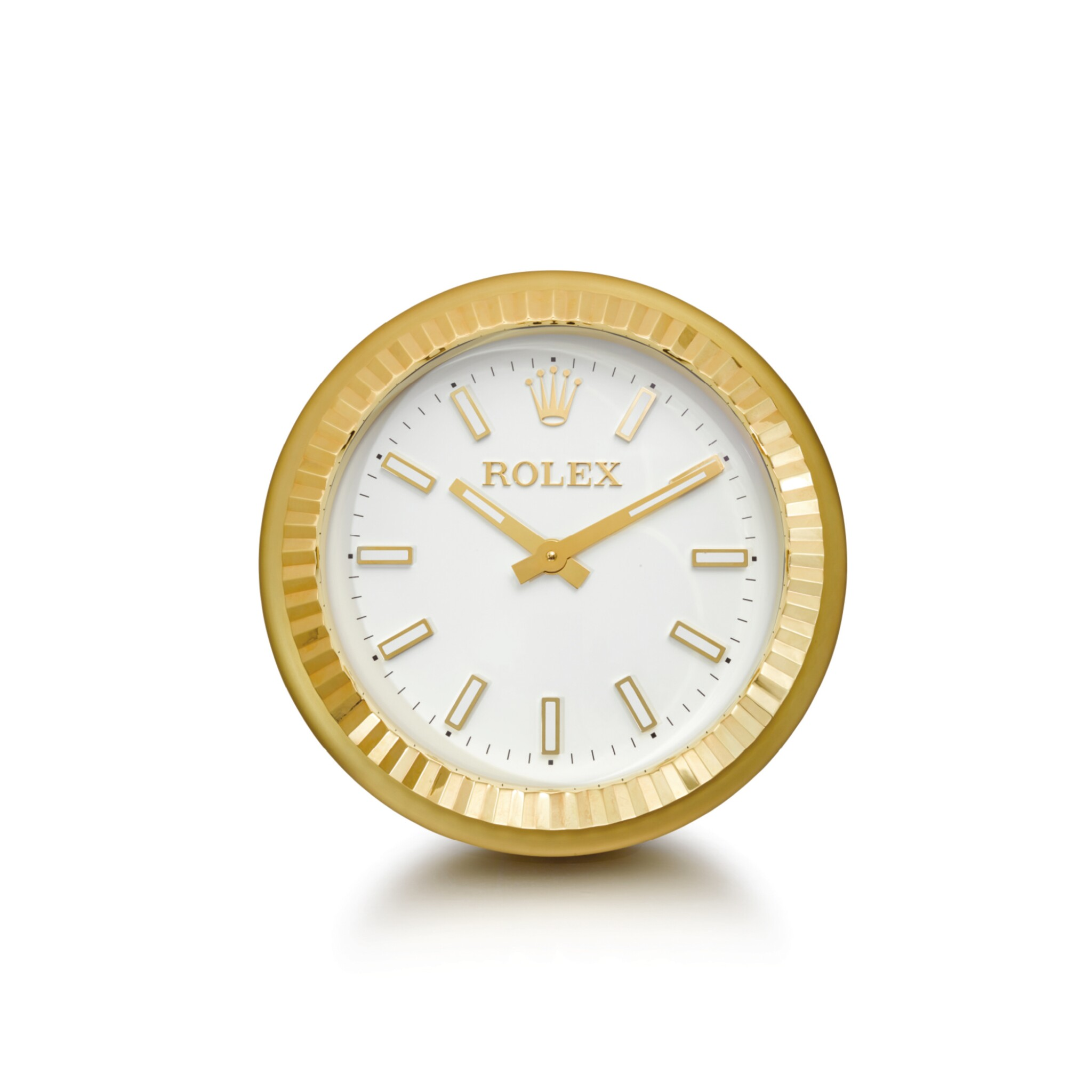 View full screen - View 1 of Lot 2003. ROLEX, MANUFACTURED BY INDUCTA  |  A LARGE GILT BRASS WALL CLOCK, CIRCA 2010 | 勞力士,由Inducta製造 | 鍍金銅製掛鐘,外殼編號080612,約2010年製.