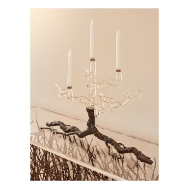 """View 1. Thumbnail of Lot 62. Three """"Family Chain"""" Candelabras."""