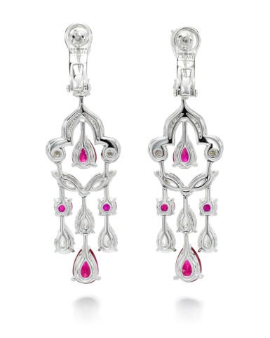 View 3. Thumbnail of Lot 202.  GRAFF | PAIR OF RUBY AND DIAMOND EARRINGS.