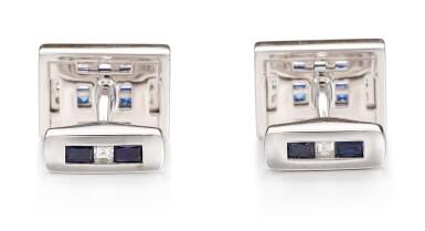 View 3. Thumbnail of Lot 1102. Pair of Sapphire and Diamond Cufflinks | 格拉夫| 藍寶石 配 鑽石 袖扣一對 (藍寶石及鑽石共重約1.50及1.40克拉).
