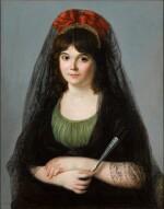ZACARÍAS GONZÁLEZ VELÁZQUEZ  |  PORTRAIT OF A YOUNG WOMAN, HALF-LENGTH, HOLDING A FAN