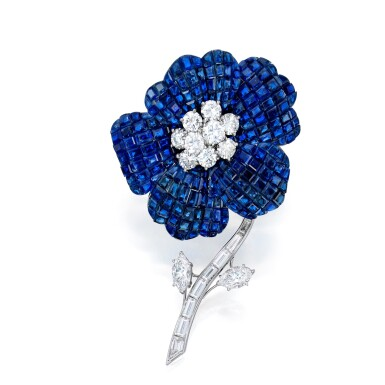 View 1. Thumbnail of Lot 75. Van Cleef & Arpels | Mystery-Set Sapphire and Diamond Brooch.