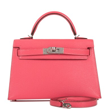View 1. Thumbnail of Lot 29. HERMÈS   ROSE LIPSTICK SELLIER KELLY 20CM OF CHEVRE LEATHER WITH PALLADIUM HARDWARE.