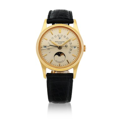 View 1. Thumbnail of Lot 42. REF 5050 YELLOW GOLD PERPETUAL CALENDAR WRSITWATCH WITH RETROGRADE DATE, MOON PHASES AND LEAP-YEAR INDICATION CIRCA 2000 [百達翡麗5050型號黃金萬年曆腕錶備逆跳日期、月相及閏年顯示,年份約2000].