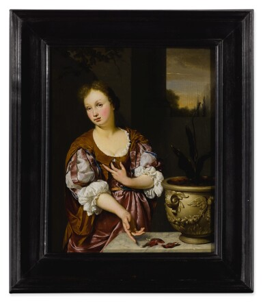 View 2. Thumbnail of Lot 535. Vanitas portrait of a young woman  .