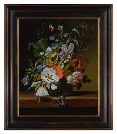 View 2. Thumbnail of Lot 32. Still life with flowers in a vase on a ledge with a dragonfly, caterpillar, and butterfly.