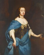 MANNER OF SIR PETER LELY | Portrait of a lady, three-quarter-length, in an embroidered dress with a blue silk wrap
