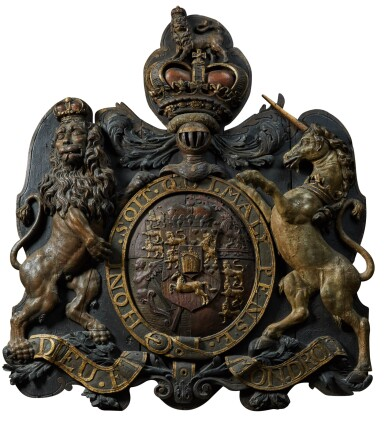View 1. Thumbnail of Lot 59. A CARVED PARCEL-GILT AND POLYCHROME ROYAL COAT-OF-ARMS OF HM KING GEORGE III, ENGLISH, CIRCA 1801-1816.
