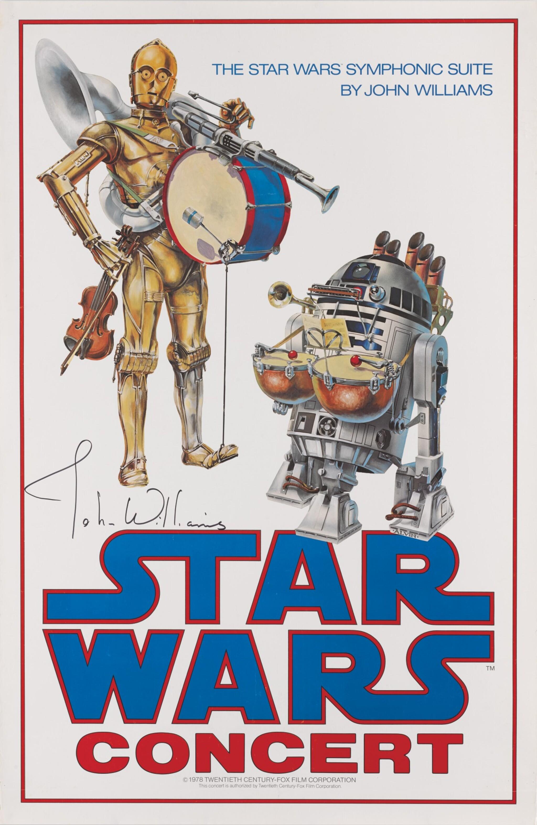STAR WARS CONCERT POSTER, JOHN ALVIN, 1978, SIGNED BY JOHN WILLIAMS