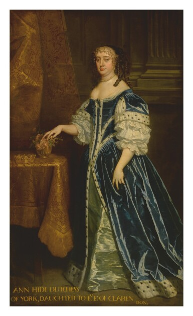 STUDIO OF SIR PETER LELY | PORTRAIT OF ANNE HYDE, DUCHESS OF YORK AND ALBANY (1637-1671), FULL-LENGTH, IN A BLUE GOWN TRIMMED WITH ERMINE, STANDING BEFORE A GOLD CURTAIN WITH HER CROWN ON A TABLE