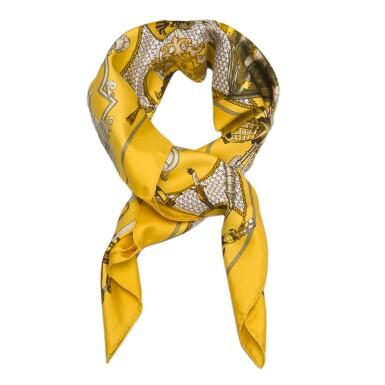 "View 5. Thumbnail of Lot 98. Hermès Set of Two Scarves:""La Danse du Cosmos"" Silk Twill Scarf 90cm and ""Armeria"" Silk Twill 90cm."